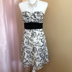 WHBM strapless black and white floral party dress